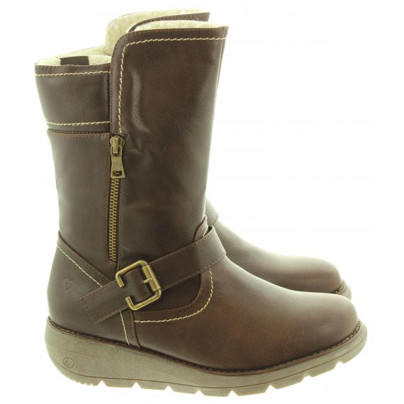 HEAVENLY FEET Ladies Pacific3 Calf Boots In Chocolate