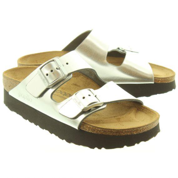 BIRKENSTOCK Ladies Platform Arizona Sandals In Silver