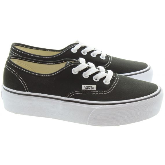 VANS Ladies Platform Authentic Shoes In Black And White