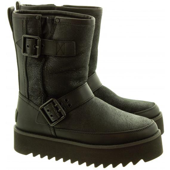 UGG Ladies Rebel Biker Short Boots In Black