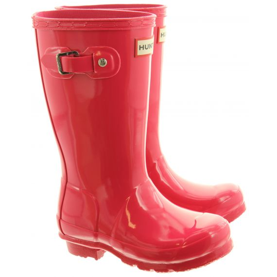HUNTER Rubber Young Gloss Wellingtons In Pink
