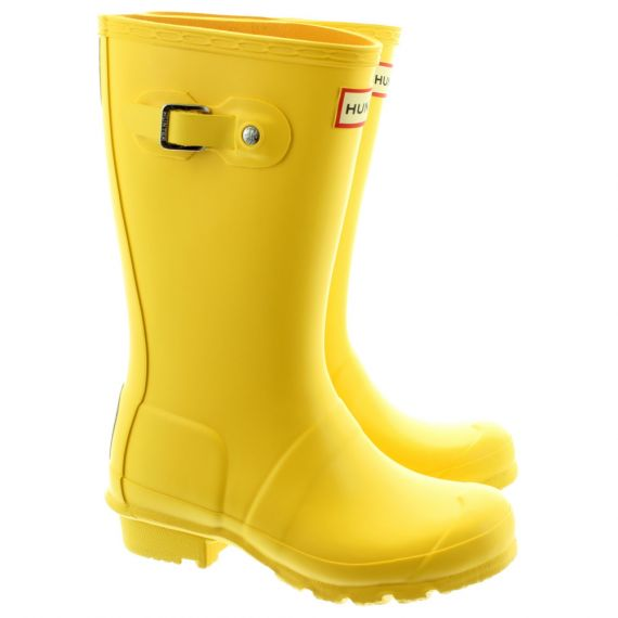 HUNTER Rubber Young Hunter Wellingtons in Yellow