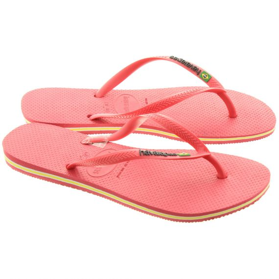 HAVAIANAS Ladies Slim Brazil Logo Sandals In Flamingo Pink
