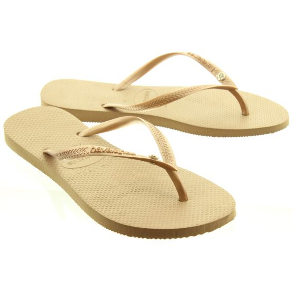 HAVAIANAS Ladies Slim Crystal Glamour Toe Posts In Rose Gold