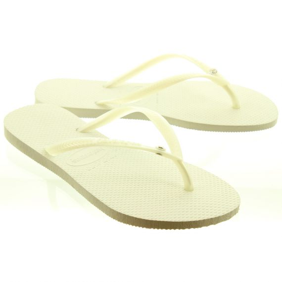 HAVAIANAS Ladies Slim Crystal Glamour Toe Posts In White