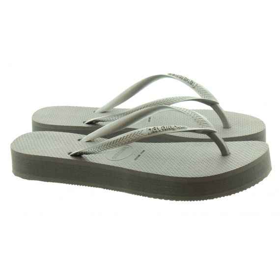 HAVAIANAS Ladies Slim Flatform Sandals In Grey