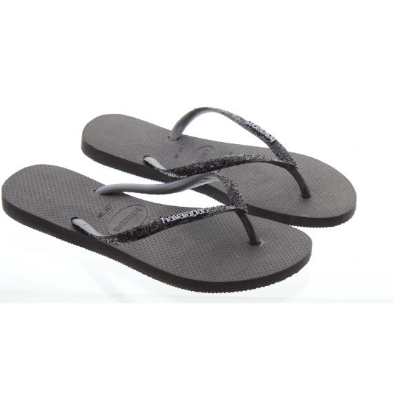 HAVAIANAS Ladies Slim Glitter Toe Posts In Black