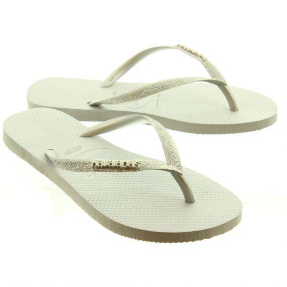 HAVAIANAS Ladies Slim Glitter Toe Posts In Grey