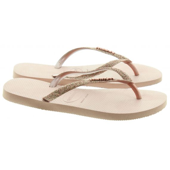 HAVAIANAS Ladies Slim Glitter Toe Posts In Rose Gold