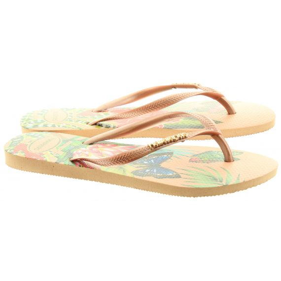 HAVAIANAS Ladies Slim Tropical Flip Flops In Pink