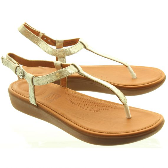 FITFLOP Ladies Tia Toe Post Sandals In Pale Gold