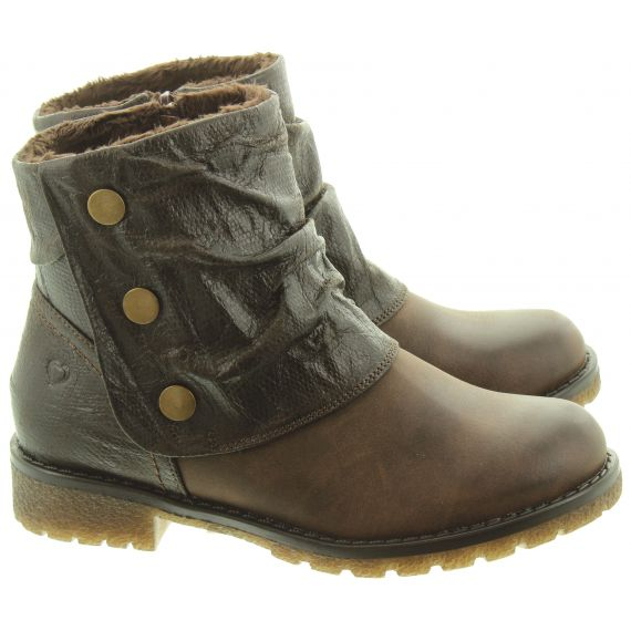 HEAVENLY FEET Ladies Topaz Button Boots In Brown
