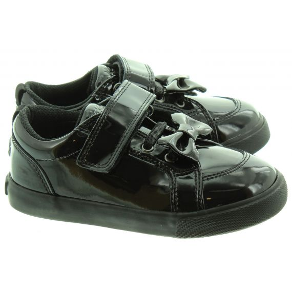 KICKERS Kids Tovni Bow Shoes In Black Patent