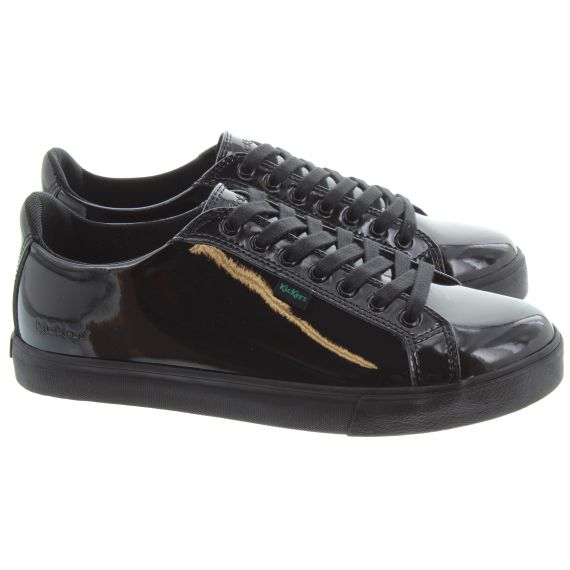 KICKERS Ladies Tovni Lacer Shoes In Black Patent