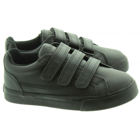 KICKERS Kids Tovni Triple Velcro Shoes In Black Patent