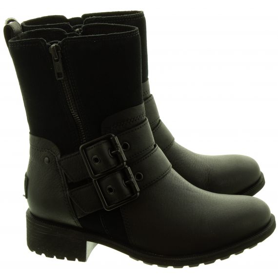 UGG Ladies Wilde Buckle Ankle Boots In Black