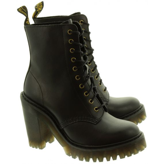 DR MARTENS Womens Kendra Heeled Lace Ankle Boots In Black