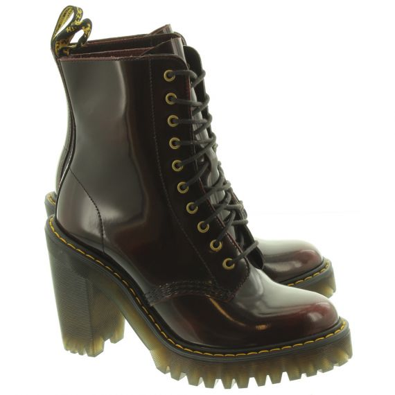 DR MARTENS Womens Kendra Heeled Lace Ankle Boots In Cherry