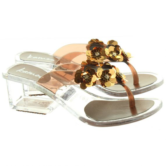KAMOA Womens Rumba Flower Top Toe Post Sandals In Bronze