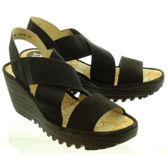 FLY Ladies Yaji Wedge Sandal In Black
