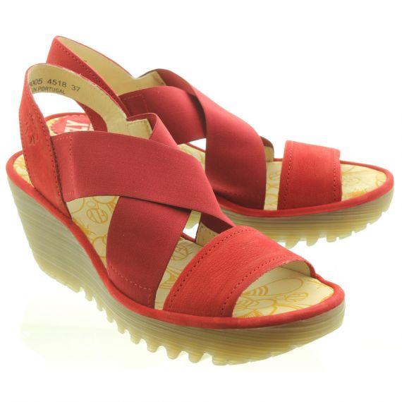FLY Ladies Yaji Wedge Sandal In Red