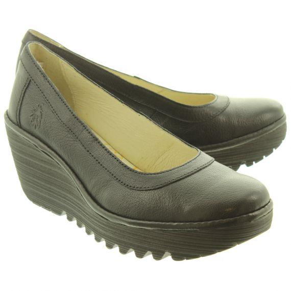 FLY Ladies Yano Wedge Shoes In Black